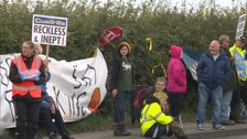 Environmental campaigners at the site.