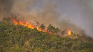 Fire burns along a ridge in the French Riviera