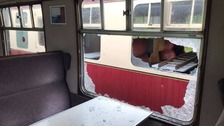 carriage windows were smashed during the acts of vandalism.