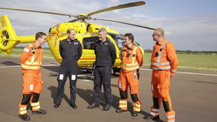 Prince William smiled and joked with colleagues at the start of the shift.