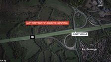 Motorcyclist flown to hospital after M3 crash