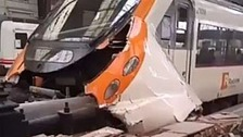 The damaged train in Barcelona