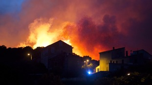 Wildfires above the village of Ortale in Corsica, France