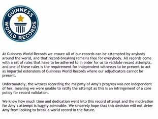 The explanation Guinness World Records gave Amy Hughes for its ruling.