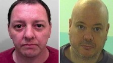 L-R: Scott Noon and Christopher Addison both left HMP Leyhill in South Gloucestershire on Thursday.
