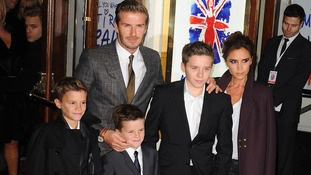 David and Victoria Beckham with their three sons at the press night for Spice Girl's musical Viva Forever