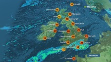 Rain in the south, sunshine and showers elsewhere