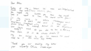 The letter from 9-year-old Olivia Messenger