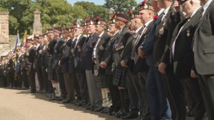 Veterans gather in the Parade Square.
