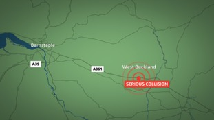 The collision happened close to West Buckland in North Devon.