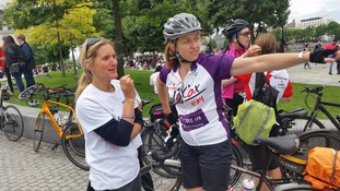 Kim Leadbeater (L) was there to greet the team