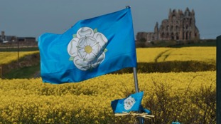 A view of a Yorkshire Rose flag near Whitby Abbey