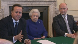 The Queen sat between the David Cameron and William Hague