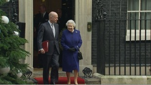 The Queen leaves with Foreign Secretary William Hague