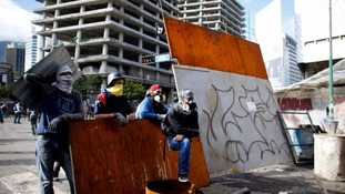 Anti-government demonstrators in Caracas on Sunday