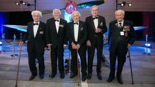 Ken (far left) looking dapper with other veterans at a dinner to mark the 75th anniversary of the Battle of Britain in 2015.