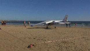 A light plane made an emergency landing, killing two sunbathers in Portugal.