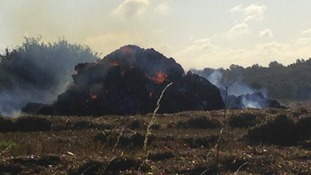 The hay stack alight near Halstead.