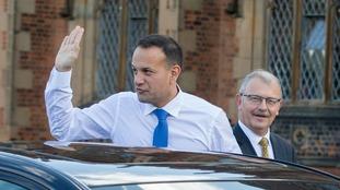 Leo Varadkar arrives at Queen's University in Belfast.