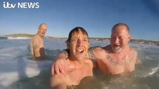 Our cameraman Daniel Wickham braved the coldest of waters for a mid Winter swim!