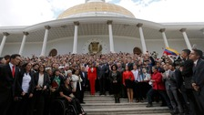 Venezuela's constituent assembly poses for an official photo after being sworn in.