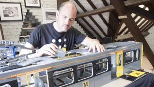 Steve Mayes with his Lego model of a Metro