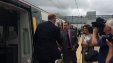Mr Grayling arrives for the official opening of Cambridge North station