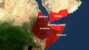 Self-declared Somaliland is on the east coast of Africa.
