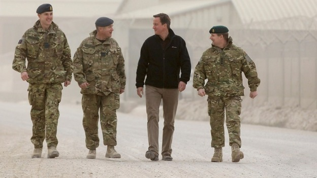 David Cameron seen walking through Kandahar Airfield in 2011
