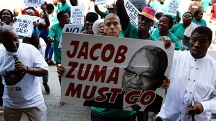 Street protests against Jacob Zuma.