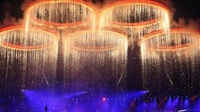 The Olympic Rings come together in formation during the Opening Ceremony