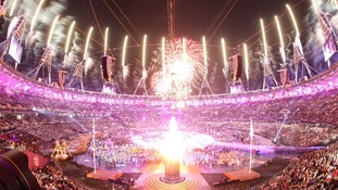 Fireworks during the opening ceremony of the Paralympics