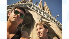 Tom Daley shared this photo of the pair at La Sagrada Familia in Barcelona, Spain.