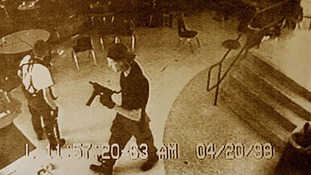 Dylan Klebold (R) and Eric Harris in Columbine High School CCTV