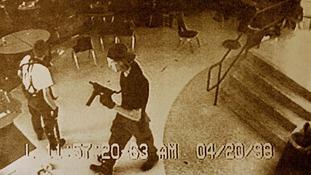 Dylan Klebold (R) and Eric Harris in Columbine High School CCTV