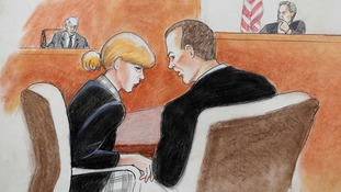 In this courtroom sketch, pop singer Taylor Swift, front left, confers with her attorney as David Mueller.