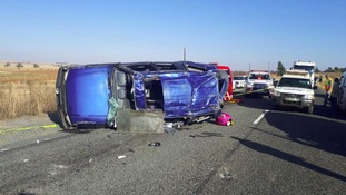 Scene of car accident on R509 South Africa