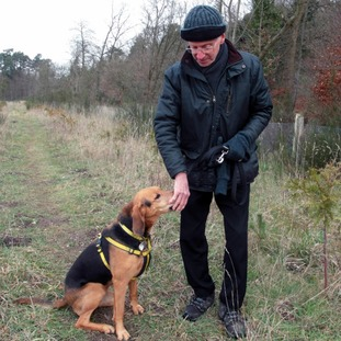 Murder victim Peter Wrighton with one of his dogs