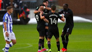 Aston Villa celebrate Scott Hogan's first-half goal.