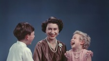 The Queen with a young Princess Anne and Prince Charles
