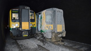 The two trains which collided in the tunnel at Watford.