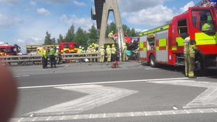 Emergency services at the scene on M1 in West Yorkshire