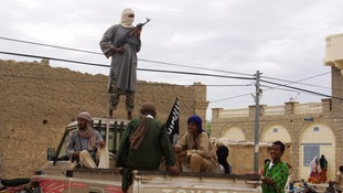 Rebels from the Isalmist group Ansar Dine in Timbuktu, Mali.