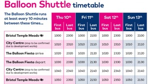 Balloon Shuttle timetable.