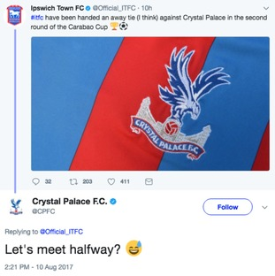Ipswich and Crystal Palace enjoyed some banter on Twitter.