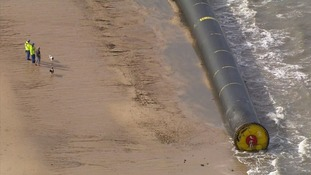 The plastic pipes are between 600 and 1,500 feet long.