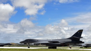 B-1B strategic bombers are seen at Andersen Air Force Base in Guam.