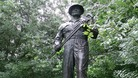 Bronze statue of the The Oil Patch Warrior which commemorates the American &#x27;Roughnecks of Sherwood Forest&#x27; 