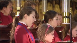 The York Minster choirs rehearse in anticipation of the Queen's visit on Thursday