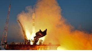 The Soyuz TMA-07M spacecraft departs for the ISS